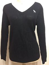 Pre Owned Abercombie&Fitch Navy Blue/black V Neck Woman Long Sleeve Sz Large
