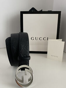 NWT Gucci Leather Belt Men Black With Logo Size 32