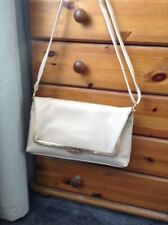 Atmosphere beige foldover handbag clutch bag removable strap beige taupe