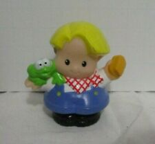 Fisher Price Little People Boy Eddie Figure With Green Frog & Brush