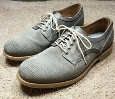 JOHNSTON MURPHY-Gray Suede Leather, Mens Fall Fashion Oxford Shoes-(8.5 M)