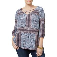 Ny Collection NWT $49 1X Plus Pink Blue Celtic Quilt Scarf Print Blouse 04137