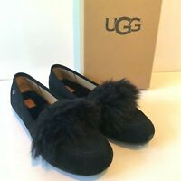 Women's UGG Black Fluffy Slippers UK Size 5 6 7 Kaley USA 8 9 EU 39 40 Boxed
