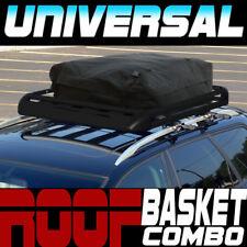 "Blk Aluminum 50"" Roof Rack Rail Cargo Basket Utility Gear Kit+Rainproof Bag S03"