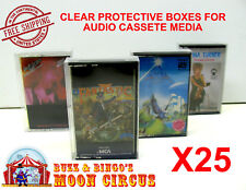 25x MUSIC CASSETTE TAPE - CLEAR PROTECTIVE BOX PROTECTOR SLEEVE CASE - ARCHIVAL
