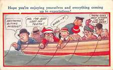 Greetings Fishing Comic Humor Bamforth Antique Postcard J67281