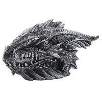 Medieval Fantasy Ferocious Pewter Color Dragon Head Treasure Trinket Box