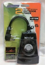 New TruConnect 2 Outlet Power Electric Mechanical Outdoor Timer 1875W