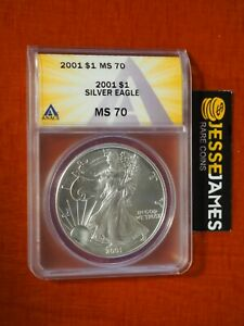 2001 $1 AMERICAN SILVER EAGLE ANACS MS70 BETTER DATE