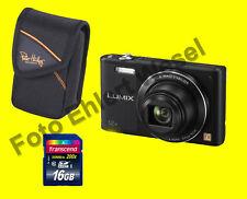 Panasonic Lumix DMC-SZ10 EG-K schwarz + Zubehörpaket 16GB + Tasche** SPARPACK **
