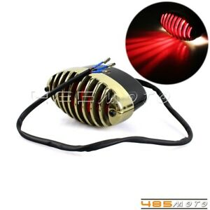 Motorcycle Brass Finned Grill 5W 12V E4 Stop Tail Light Lamp For Harley Chopper