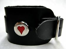 Wide Black Leather Watch Band With Red Heart Cameo Made in USA Buckle Closure