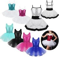Toddler Girls Kids Sequins Gymnastics Dance Dress Ballet Tutu Leotard Dancewear