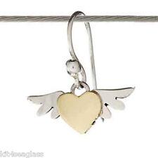 Far Fetched Tiny Winged Heart EARRINGS Sterling Silver Brass Dangle Angel - Box