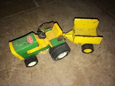 VINTAGE TONKA Mini LAWN TRACTOR WITH ATTACHED TRAILER/WAGON Yellow & Green
