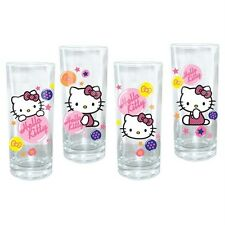 HELLO KITTY Japanese Bobcat Character SANRIO 10 Oz 4 Pcs GLASS BAR WARE SET New