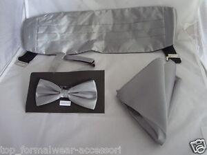Dark Silver Grey Polyester Bow tie + Cummerbund and Hankie Set>P&P 2UK>1st Class