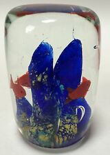 Murano? Art Glass Paperweight Coral Reef Ocean Life Fish Cylinder Blue Yellow