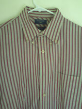 Men's Dockers no Winkles Brown Red Striped Dress Shirt Size M