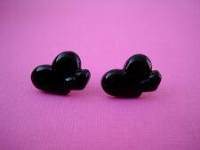FUNKY BLACK DOUBLE HEART EARRING LOVE CUTE KITSCH RETRO VALENTINE 2 TWO KAWAII