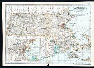 1897 Massachusetts Map Boston Cape Cod Nantucket Martha's Vineyard RARE