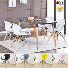 4 x Alecia Tub Eiffel Armchair and Black Dining Table Set Cafe Restaurant Salon