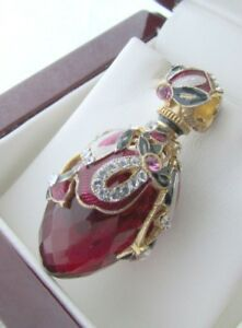 GARNET EGG PENDANT HANDMADE RUSSIAN SOLID STERLING SILVER 925 BEAUTIFUL QUALITY