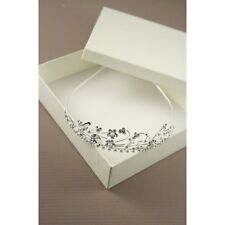 NEW Silver plated flowers and pearl aliceband tiara wedding boxed prom bride