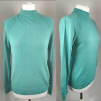 "New M&S Women's Jumper Soft Knit ""Jade"" Green High Neck Acrylic Office Career 12"
