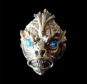 Bronze Dagon Ring HP Lovecraft Custom Size Blue Opal Sea Cthulhu Mythical R-177b