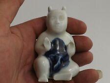 Ancienne Porcelaine Blanc Bleu de Chine. Bouddha, Buddha Assis. Antique Chinese