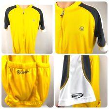 Canari Mens Cycling Biking Jersey L Bright Yellow Gray Pockets  High Visibility
