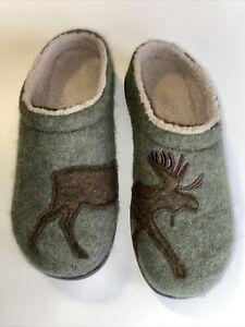 L L Bean Womens Daybreak Wool Scuffs Moose Motif Slippers 305194 Green Sz 9M