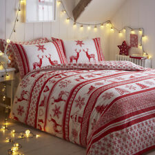 Tonys Textiles Snowflake Reindeer Christmas Iceland Red White Quilt Duvet Cover