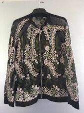 Next Embroidered Floral Sheer Black Bomber Cover Up Or Jacket 16 18