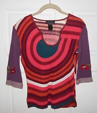 Custo Barcelona Geometric Print Knit Top 3/4 Sleeves With Floral Knit Detail S
