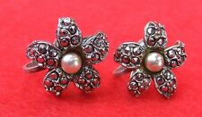 Vintage 925 Sterling Silver Marcasite & Pearl Screwback Earrings