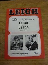 08/10/1978 Rugby League programme: Leigh V Leeds
