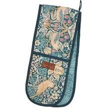More details for morris & co strawberry thief double oven glove - teal
