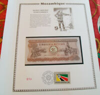 Mozambique Banknote 50 Meticais 1980 P 125 UNC /UN FDI FLAG STAMP prefix AC