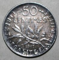 French 50 Centimes Coin 1917 KM# 854 France Silver .835 Fifty World War I WWI