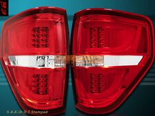 2009-2014 Ford F150 XL/XLT/STX/FX4 Chrome Housing Clear Red LED Tail Lights V2