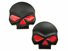 x2 New Custom Metal Black / Red Punisher Skull Emblem OEM HP Dyno RWHP EVO TX2K