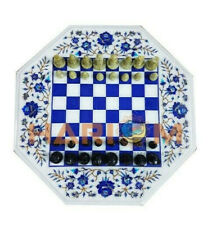 "24"" White Marble Chess Coffee Table Top Lapis Floral Inlay With 2"" Picese W400"