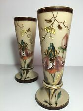 Pair of Victorian BRISTOL GLASS Fireglow Clambroth  Botanic Enamel Mantle Vases