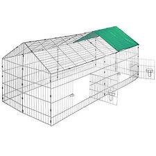 Rabbit enclosure run cage pet hutch outdoor playpen metal secure sunshade green