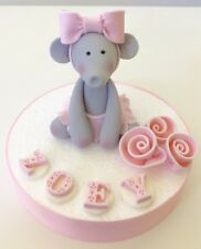 Edible Baby Elephant Cake Topper Name Roses For First Birthday Cake Kids