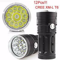 30000LM 12x  XM-L T6 LED Flashlight Torch 4x 18650 Hunting Light Lamp
