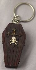 Gothic Vampire Coffin Casket Key Chain Skull & Crossbones