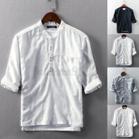Men's Half Sleeve Soft Linen Blouse Casual Slim Fit Henley Shirt Tee Top Holiday